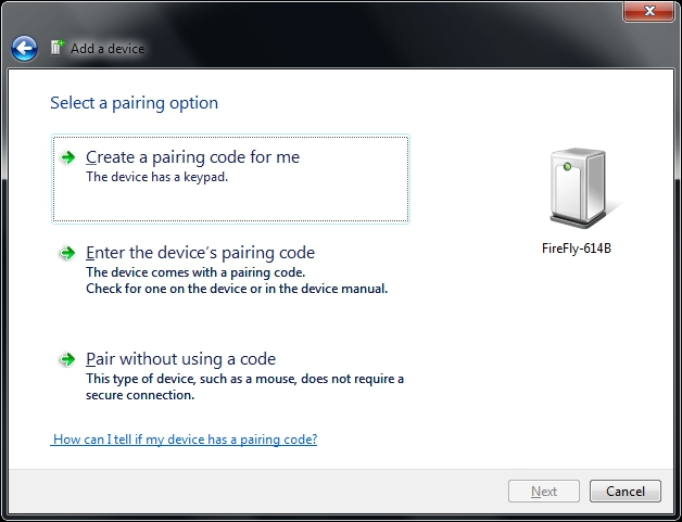 Add a Device Pairing Options