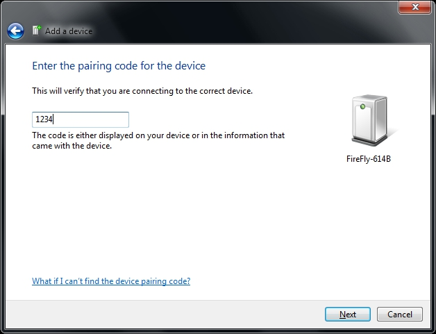 Add a Device Pairing Code Entered